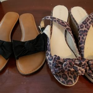 Two shoes one wedge one sandal